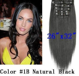 Wholesale 26 quot remy Human Hair CLIP IN HAIR EXTENSION Straight natural BLACK B quot amp g sets