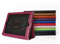 For Ipad 2/3 for ipad2 - Folding PU Leather cover for ipad new ipad3 stand cases for ipad2 tablet pc folio skin colors