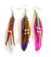 Assorted Color Natural Feather Earrings Drop Earrings