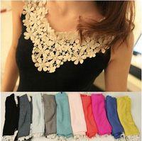 Wholesale girl ladies lace design Sleeveless T Shirt Tank Tops Cami Waistcoat Vest sweater cotton color