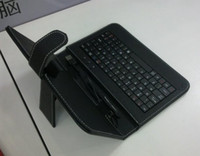 Wholesale 7 quot Leather case with usb keyboard bracket for inch Apad epad PC Tablet Netbook free HK Post