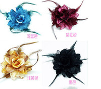 South American Women's Gift 60pcs shipping Fashion hair accessories Lady feather Flower hair clips Brooch mix colors