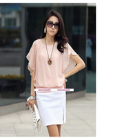 Wholesale 2012 NEW ARRIVAL Korean fashion women mini silk tops loose batting Chiffon blouse pink white black