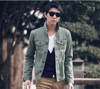 Wholesale 2012 Korean Slim stand collar jacket Baseball denim jacket fashion jacket men coat