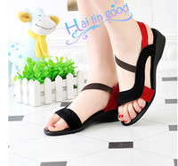 Wholesale 2012 summer newest all cowhide leather fish mouth women sandal flat shoes calceus shoes size
