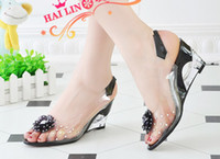 Wholesale 2012 new candy crystal shoes fish mouth women Hollow out sponge cake sandal calceus shoes size