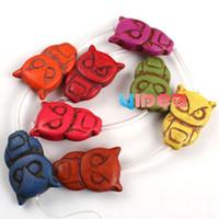 Wholesale 16pcs Howlite Turquoise Colorful Owl Gemstone Beads Fit Jewelry Bracelets Necklaces DIY