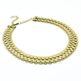 Vintage gold plated band chain choker necklace for women fashion jewelry,golden jewellery,New design ,NL-1698
