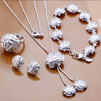Wholesale Good quality and good desig latest luxurious rose flower necklace bracelet earrings sets plated silver set ring jewelry set sets