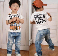 Wholesale 10 Pairs Boys Jeans Kids Denim Hole Pants Childrens Trousers BP