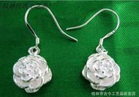 Wholesale Earrings Bodyjewelry Low cost supply of Silver Earring Small Peony Flower Pendant Silver Jewelry