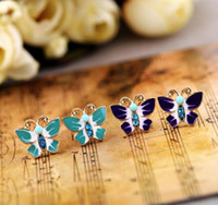 Wholesale High quality Lovely girls Earring Stud Jewelry oil painted butterfly shape colors pairs