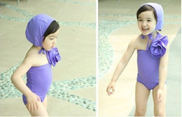 Wholesale 10 sets baby girls two pieces swimsuits bathing suits swimming hat one piece kids swimear flower