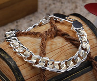 Wholesale New men s curb chain hot sell sterling silver quot bracelet gift cool jewelry
