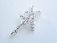 Wholesale Side Ways Crystal Rhinestones Cross Connector Charm Bead