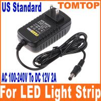Wholesale AC V To DC V A Power Supply Converter Adapter for Led Lights Strips US plug H8258