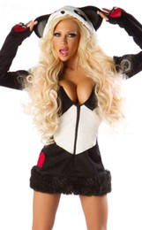 Wholesale Retail Fashion Deluxe Panda Bear Sexy Costume Cosplay With Mini Dress High Qualtiy