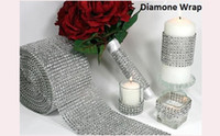 Wholesale 1 Yard Bendable Diamond Mesh Wrap Roll Silver Gold Sparkle Rhinestone Crystal Ribbon