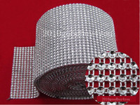 Wholesale 5 Yard Bendable Diamond Mesh Wrap Roll Silver Sparkle Rhinestone Crystal Ribbon