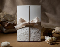 Wholesale Vintage Embossed Tri fold Wedding Invitation With Ribbon Bow Set of Printable