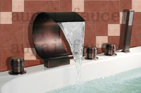 Wholesale 2011 New Arrival Solid Brass Oil Rubbed Bronze Bathroom Mixer Waterfall Bath Faucet Y R