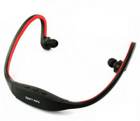 Wholesale Sports MP3 Player w FM Radio Wireless Headset Handsfree Headphone TF Slot Black Red green blue pc