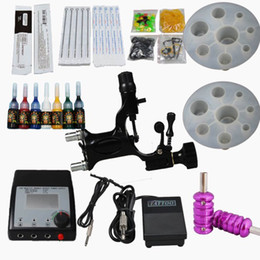 Wholesale Dragonfly Tattoo Rotary Machine Gun Kits Double Adjusted Power Supply Ink Needles Tips Tool