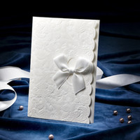 Wholesale Delicate Embossed Wedding Invitation With Satin Bow Set of Printable Customizable