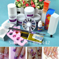 Wholesale Fashion DIY Acrylic Crystal Nail Art Kit with Powder Liquid Glue Forms Brush Full tools