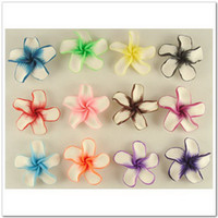 Ceramic, Clay, Porcelain flower polymer clay beads - 50 Mix Color Fimo Polymer Clay White Petals Plumeria Flower Beads mm M14