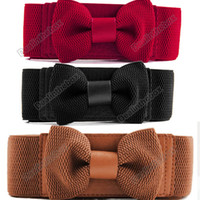 Wholesale Women s Girls Graceful Bowknot Elastic Lovely Belt With Buckle Waistband Agood