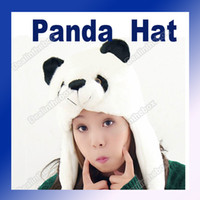 Wholesale Cartoon Animal Panda Cute Fluffy Plush Hat Cap Fashion White amp black Adeal