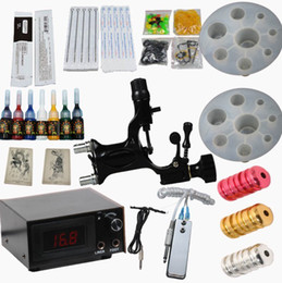 Wholesale Pro Tattoo Kits Rotary Dragonfly Machine LED Power Supply Ink Grip Needles Tips Accessories Complete