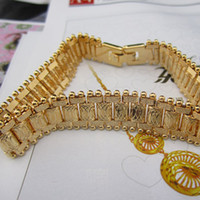 Wholesale low price k yellow gold filled men s bracelet watch chain New design mm width free S H