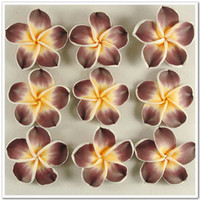 Flowers flower polymer clay beads - 20 Brown Fimo Polymer Clay Plumeria Flower Beads mm