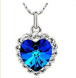 Luxury Heart of Ocean Peach Heart Crystal Necklaces Crystal Gemstones pendant Jewelry Women New arrival xmas gifts 10pcs