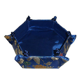 Unique Handicraft Hexagon Large Candy Boxes Party Favors Foldable Chinese style Decorative Silk brocade Fruit Storage Baskets 3pcs lot Free
