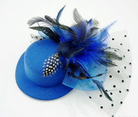 Wholesale Women Feather Hair Clip Mini Top Hat Fascinator Decoration Cocktail HOT Billycock Hair Accessory