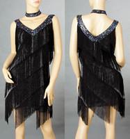 Latin latin dress - Ladies Cocktail amp Club Latin Dance Party Asymmetric Fringe V Neck galaxy Dress