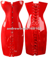 Wholesale 2013 New Women Noble PVC Leather Erotic Bustier Front Busk Top Corset with Dress Red