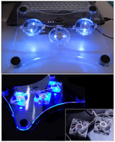 Three Fans Plastic  best price 2012 USB Laptop Cooler Notebook Cooling pad stand with 3 fans and blue LED light- FREE SH