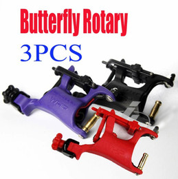 Wholesale 3pcs Butterfly Rotary Tattoo Machine SWASHDRIVE WHIP Gun Tattoo Supply Purple Black Red