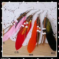 Wholesale Hot sale Feather Jewelry Earrings Indian style Long colorful Feather Earrings pairs