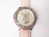 Quartz playboy watches - leather women watches student lady gifts Playboy Playboy fashion red diamond white face wrist watch
