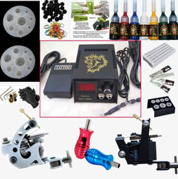 Wholesale 2 Guns Beginner Tattoo Machine Kits LED Power Supply Needle Tip Grip Brushes Accessories