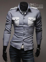 Wholesale 2012 New Fashion Style Men s Long Sleeve Shirts Badges double pocket Casual Slim Shirt g