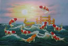 Koi Feng Shui oil painting canvas Fish Jumping Sunrise painting handmade office wall art home decor