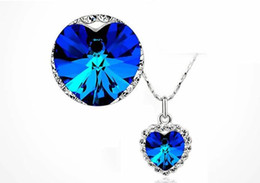 Wholesale 1Set Crystal Heart Of Ocean Titanic Necklace Pandant Earrings Colors For Pick