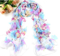 Wholesale 100 women s Chiffon butterfly Scarfs scarves scarf hijab shawl summer fashion ladies printed