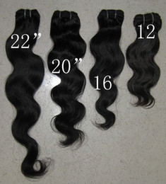 Wholesale 12 quot color b Indian Remy human hair Body weave Machine weft Top quality G